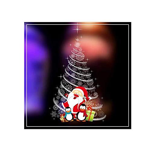 MoGist Weihnachts Wandaufkleber Netter Sankt Pinguin Weihnachtsbaum Weihnachtssticker Fensterbilder Statisch Haftende PVC Sticker