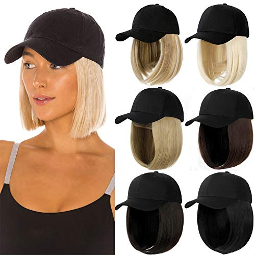 Qlenkay Baseball Cap with Hair Extensions Straight Short Bob Hairstyle Adjustable Removable Wig Hat 14inch for Woman Girl Ash Blonde Mix Bleach Blonde