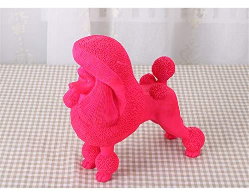 START Pudel Hund Ornamente Wohnaccessoires kreativ Harz modernen minimalistischen Handwerk TV Schrank Wein Schrank Veranda eingerichtet (Color : Pink)