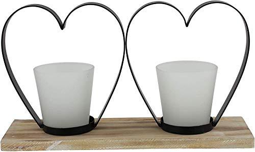 khevga Windlicht Herz aus Holz und Glas im Set 30 x 9 x 17 cm