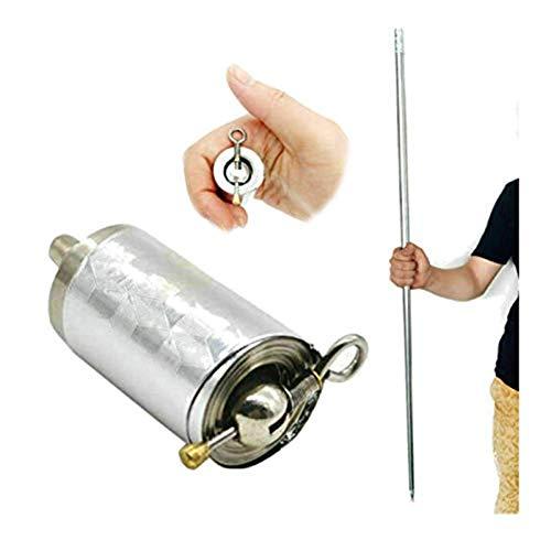 CIRREOUS Magic Pocket Staff, Portable Martial Arts Metal Magic Pocket Bo Staff Professional Magic Telescopic Wand Telescopic Props for Stage Performances Magic Accessories 110CM/150CM (Silver, 110CM)