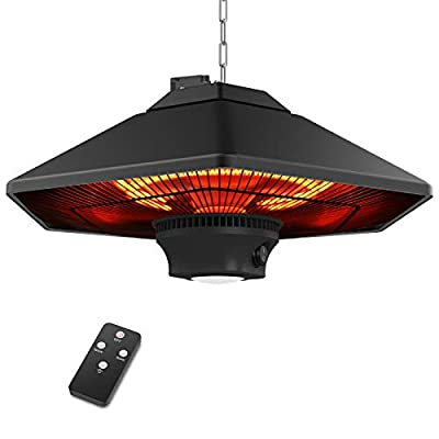 Outdoor Electric Patio Heater, Ceiling Mounted Hanging Heater, 1500W Carbon Infrared Heaters with Remote Control, LED Light, 3 Power Mode Fast Heating for Outside Courtyard Garage Use