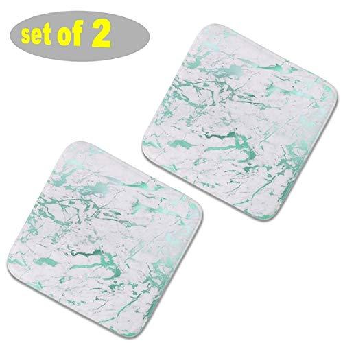 2 cuscini quadrati per sedie da cucina in peluche, cuscini per sedia da giardino, antiscivolo, cuscini per sedia a tinta unita spessi cuscini per sedie da pranzo 40 x 40 – astratto verde acqua marmo verde acqua