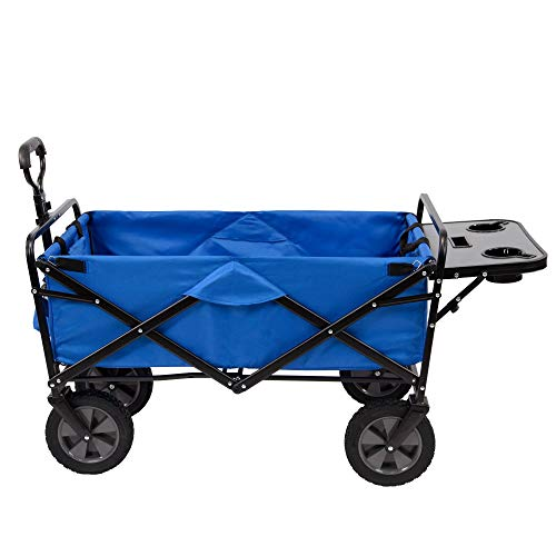 Mac Sports Collapsible Folding Outdoor Garden Utility Wagon Cart w/Table, Blue