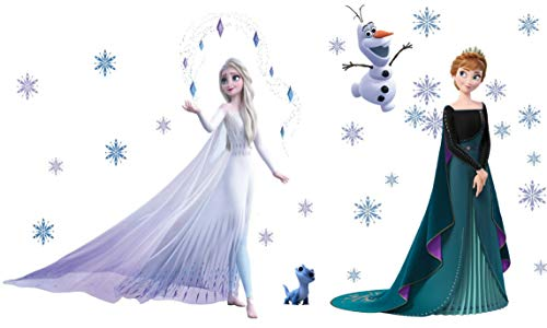 Kibi 2PCS Wandtattoo Frozen Wandtattoo Eiskönigin (Frozen) Elsa und Anna Wandsticker Frozen Disney für Kinderzimmer Living Room Removable Prinzessin Elsa Anna Wandtattoo Kinderzimmer Frozen Olaf