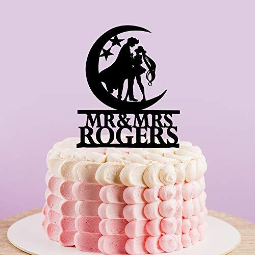Bruiloft Silhouette Cake Topper,Mr en Mrs Cake Topper voor Bruids Douche Topper,Tuxedo Masker
