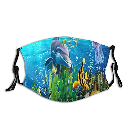 WINCAN Face Cover Blue Ocean Underwater Scene Dolphin and Plant Cartoon Sea Animal Jellyfish Coral Reef and Tropical Fish Balaclava Reusable Anti-Dust Mouth Bandanas Neck Gaiter with 2 Filters