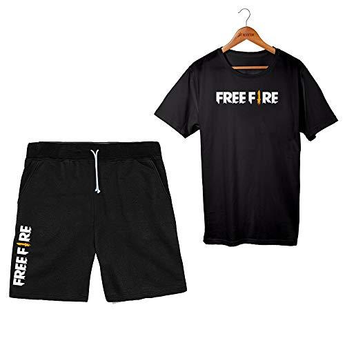 Kit Bermuda Masculina Free Fire + Camiseta Angelical Garena (GG, PRETO/PRETO)