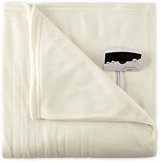 Pure Warmth Fleece Electric Heated Blanket Full Natural