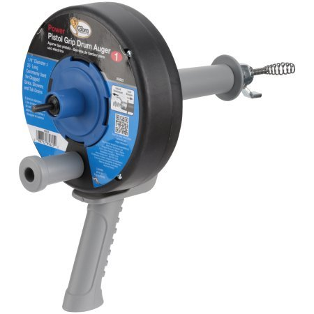 Cobra 85625 1/4-Inch by 25-Feet Pistol Grip Power Drum Auger with drill attachment