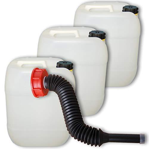 plasteo Lot de 3 bidons HDPE Alimentaire Jerrican 20 L, Naturel + 1 Long Bec verseur Flexible DIN 61 (22002x3+22037)