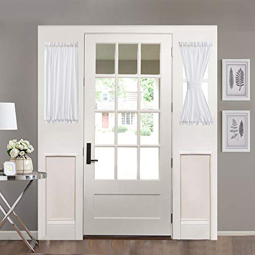 """Home Brilliant Sidelight Door Panel Striped Semi Sheer White Window Treatments French Door Curtains for Privacy (2 Panels, 30"""" Wide x 40"""" Long)"""