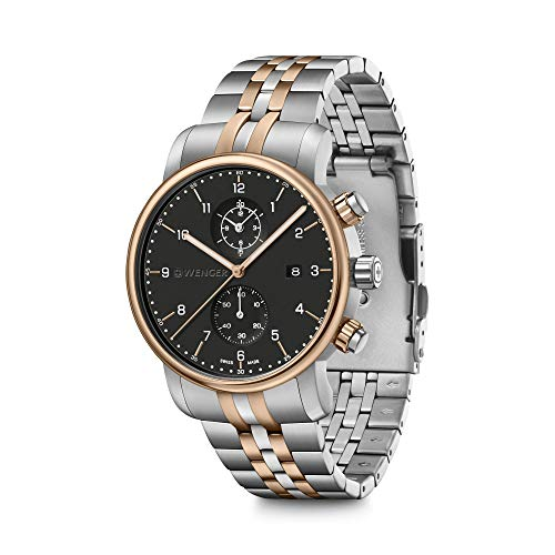 Wenger Urban Classic Cronografo da uomo Swiss Made Watch con quadrante nero...