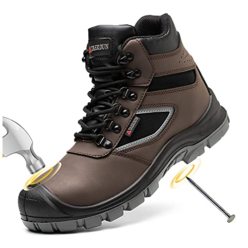 TAERDUN Steel Toe Boots for Men Waterproof Work Safety Shoes Non-slip Breathable Comfort Lightweight, Industrial & Construction Shoes, Indestructible Welding Boots, Brown, 8