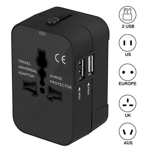 Adattatore da Viaggio, SURWELL Adattatore da Viaggio Universale con 2 Porte Caricabatterie USB Adatto per più di 180 paesi (Nero)