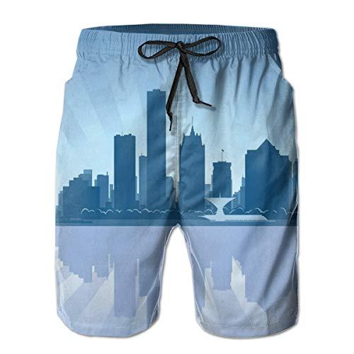 Men's Big and Tall Swim Trunks Beachwear Drawstring Summer Holiday,Silhouette Style with Retro Rays Milwaukee Skyline,3D Print Shorts Pants