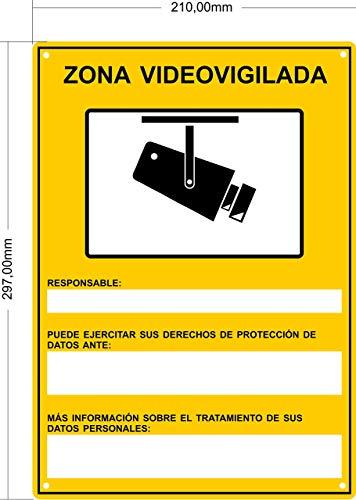 tualarmasincuotas.es Cartel Videovigilancia Rgpd | Placa METÁLICA Zona Videovigilada Interior/Exterior Premium y Ultra-Resistente, Ultimo Modelo Homologado, 30x21 cm (a4)