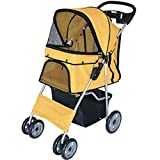 Pet Stroller,Folding Dog Trolley Breathable Small Animal Travel Carrier Dogs Cats Pram With