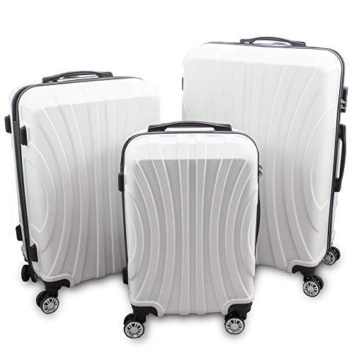 BERWIN® Kofferset 3-teilig Reisekoffer Trolley Hartschalenkoffer ABS Teleskopgriff Modell Strike 2018 (Weiß)
