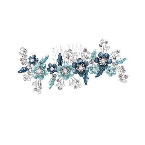 Lurrose Horquillas para el pelo en forma de flor con perlas para...