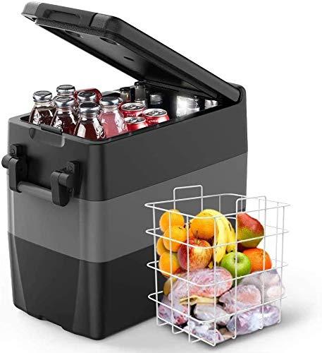 ISSYZONE Kompressor Kühlbox Gefrierbox, 50L GS geprüfter elektrischer tragbarer Auto Kühlschrank, -18 bis 10 ° C, mit Batteriewächter, 12 V und 230 V für Auto, LKW, Wohnmobil und Steckdose…