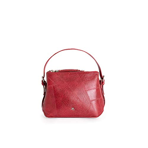 PACO MARTINEZ | Bolso Bandolera Patchwork Color Rojo | 17,5x22x10 | Mediano