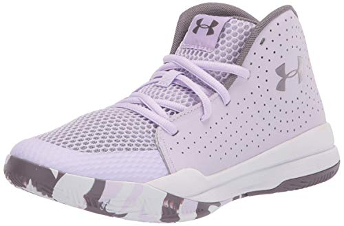 Under Armour unisex child Pre School Jet 2019 Basketball Shoe, Nebula Purple (500 White, 6.5 Big Kid US