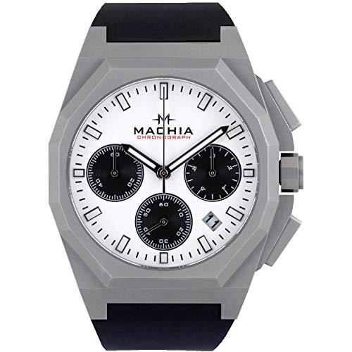 MACHIA V5 Chronograph - Herrenuhr - Saphirglas - Edelstahl -Silikonarmband (V5.1 (Silver/White)
