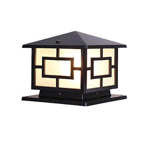 FENGLIAN Tradicional Plaza E27 Fuera pilar poste de luz de la linterna impermeable de aluminio con vidrio esmerilado retro Decoración de exteriores luces IP55 (Color : Black)