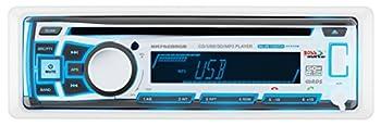 BOSS Audio Systems MR762BRGB Marine Stereo - Single Din Bluetooth Audio CD USB SD MP3 Aux in AM FM Radio Weatherproof Detachable Front Panel Multi-Color Illumination Wireless Remote White