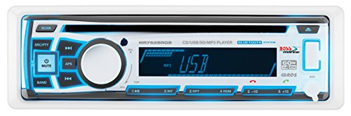 BOSS Audio Systems MR762BRGB Marine Stereo - Single Din, Bluetooth Audio, CD USB SD MP3, Aux in, AM FM Radio, Weatherproof, Detachable Front Panel, Multi-Color Illumination, Wireless Remote, White