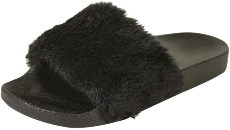 H2K Women's Lora Faux Fur Lightweight Slide Slipper-Black