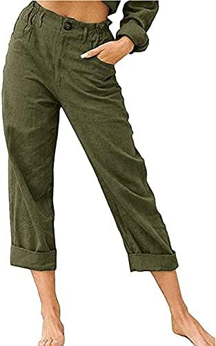 KILUS Pantalones largos para las mujeres de verano casual color sólido cintura alta recta pantalones slim fit lápiz pantalones desgaste para el trabajo, Ejercito Verde, XL