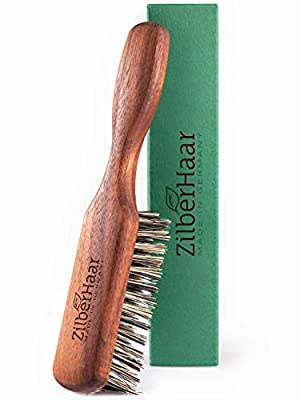 ZilberHaar Vegan Regular Beard Brush - Stiff Vegetal Bristles - Mexican Tampico Fibers and Walnut Wood - Animal-Free - Made in Germany
