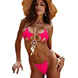 Stars Shape Bikini with Transparent Straps Swimsuit Sexy Trikini Bare Swimwear Padded Bathing Suit Rose Red