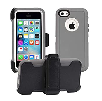 AlphaCell Cover Compatible with iPhone 5C  Only  | 2-in-1 Screen Protector & Holster Case | Full Body Military Grade Protection with Carrying Belt Clip | Drop Proof Shockproof Protective |