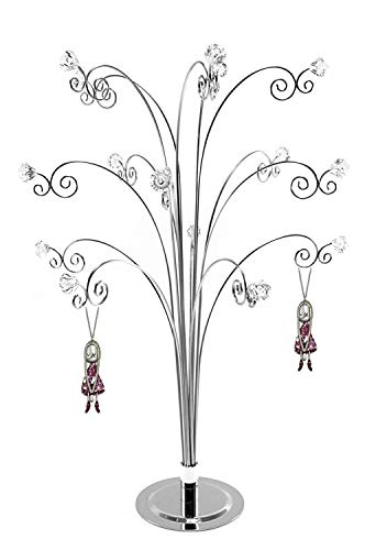 HOHIYA Jewellery Tree Stand Necklace Holder Silver Suncatcher Crystal Ornament Bauble Display 20inch