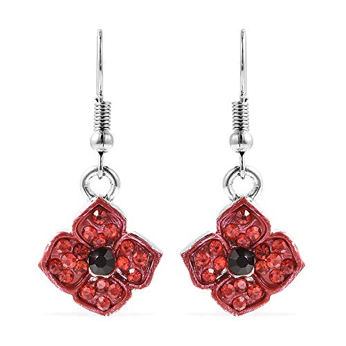 TJC Poppy Design Black and Red Crystal Enamelled Poppy Floral Earrings in Silver Tone