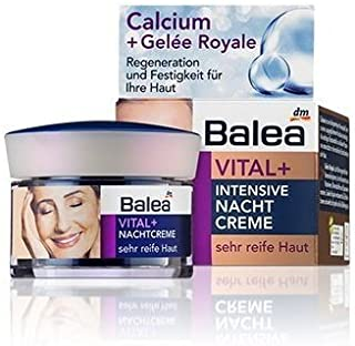 Balea Vital+ Intensive Night Cream for Very Mature Skin (55+ to 70+) with Calcium & Royal Jelly - Not Tested on Animals - ...