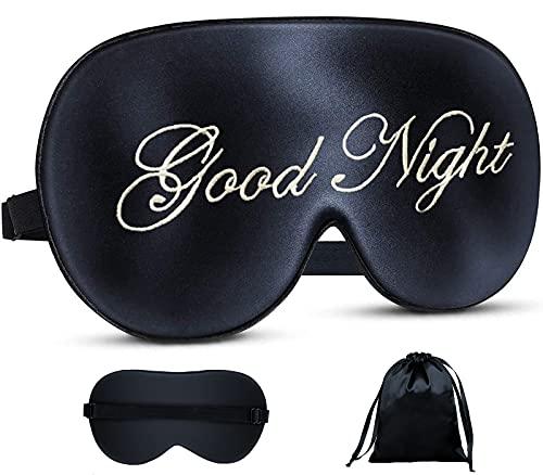 dressfan Schlafmaske aus Seide,100% Lichtblockierende Augenmaske Schlafbrille Super Weich Nachtmaske mit Verstellbarem Gummiband für Reisen/Schichtarbeit,Herren und Frauen,Gute Nacht+Schwarz