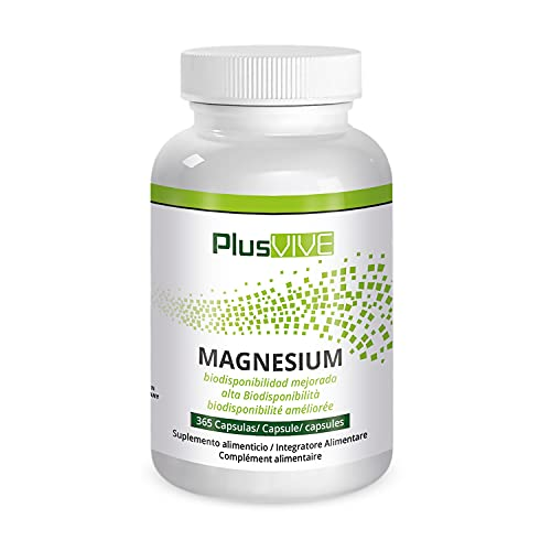 Plusvive - Hidróxido de magnesio con fórmula de mejora de la biodisponibilidad (700 mg), 365 Cápsulas Veganos, 313 g