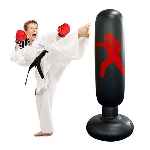 Inflatable Free-Standing Fitness Target Stand Tower Bag Himifuture 160cm Punch Bag Black Free Standing Tumbler Column Sandbag with a Free Foot Air Pump