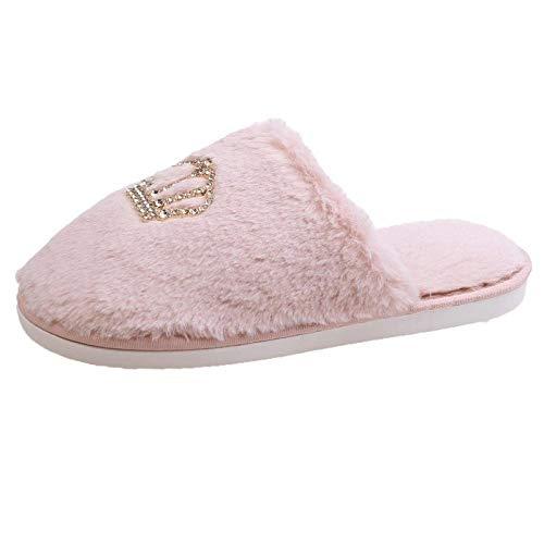ypyrhh Zapatillas de espuma viscoelástica para hombre, pantuflas de felpa con fondo plano, zapatos de algodón de línea plana Baotou, color rosa, 40-41, zapatillas de espuma viscoelástica para hombre