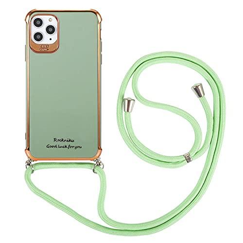 Estuche para teléfono con Cadena y cordón para el Cuello para iPhone 12 11 Pro MAX XS X XR 8 7 Plus 12 Estuche Crossbody Cordón Revestimiento Brillante Cubierta Suave, T2, para iPhone 12mini