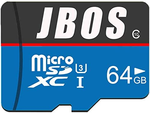 64GB Micro SD Card, JBOS Micro SDXC Card UHS-I Memory Card, C10, U3, 64 GB, High Speed TF Card for Smartphone/Bluetooth Speaker/Tablet/PC/Drone/Camera, with One Adapter