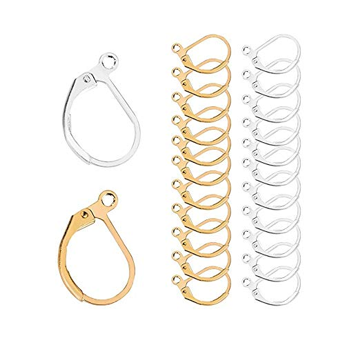120Pcs Lever Back Ear Wires, TQsuen Hypoallergenic Leverback Earwire Earring Hooks Open Loop for Jewelry Making Findings, 60 Gold and 60 Silver
