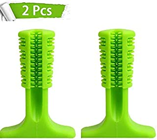 Dogloveyou Dog Toothbrush, Brushing Stick, Chew Toys, Interactive Nontoxic Bite Resistant Rubber, Dental Hygiene Tooth Brushes for Small to Medium Dogs, Pets Oral Care (2 Pack)