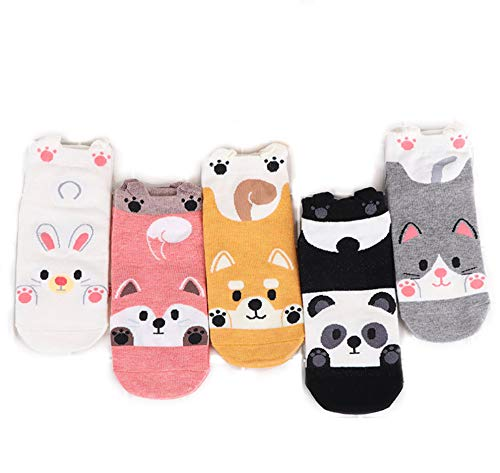 ActiveSecurity Tier Socken Damen I Bunte Mädchen Socken I Sneaker Socken I Lustige Socken I Füsslinge I 5 Paar Socken 35-39 I Baumwolle