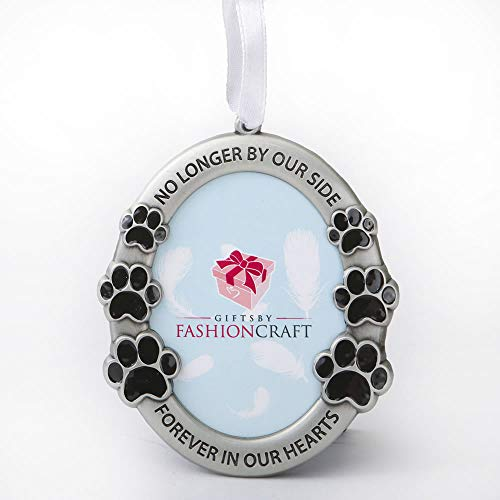 FASHIONCRAFT Pet Memorial Ornament Departed Paw Prints No Longer by Our Side Forever in Our Hearts Oval Metal Photo Frame Velvet Easel Back & Gift Box Table Top Remembrance Pewter Finish