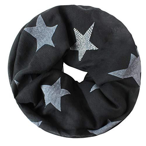 Gloop Loop schal leichter Langschal mit Sterne Muster Schlauchschal Tuch Viele Farben S201703